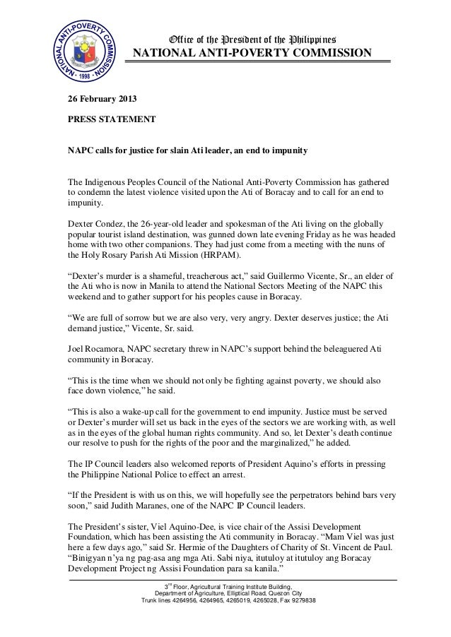 Office of the President of the Philippines                  NATIONAL ANTI-POVERTY COMMISSION26 February 2013PRESS STATEMEN...