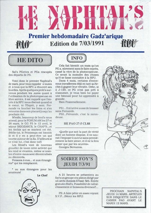 """Premier hebdomadaire Gadzarique<f~i(.1"""" Edition du 7/03/1991 l1ft~ Sals PGettes et PGs rescapésdes départs de P3.Voici don..."""