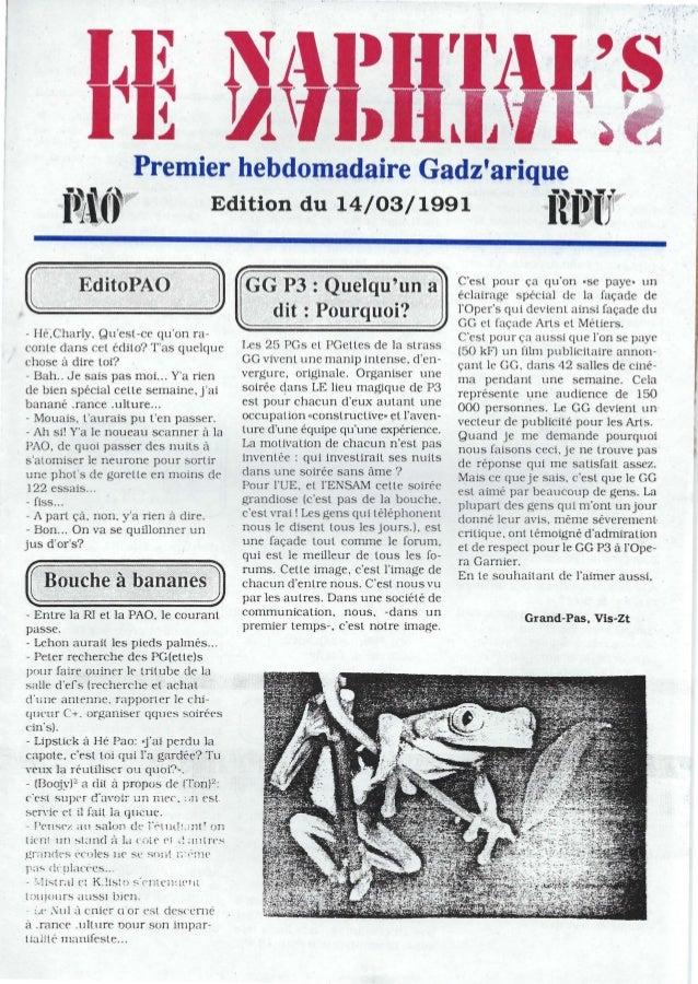 Premier hebdomadaire Gadzariquef~i(~9F Edition du 14/03/1991f~jj,~TV- He.Charly, Quest-ce quon ra-conte dans cel édito? Ta...
