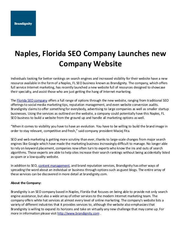 Naples, Florida SEO Company Launches new Company Website Individuals looking for better rankings on search engines and inc...