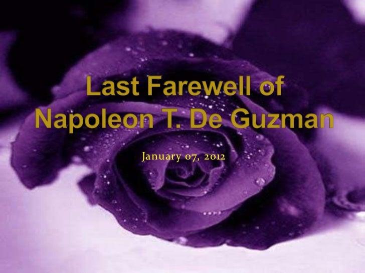 Last farewell of Napoleon T. De Guzman