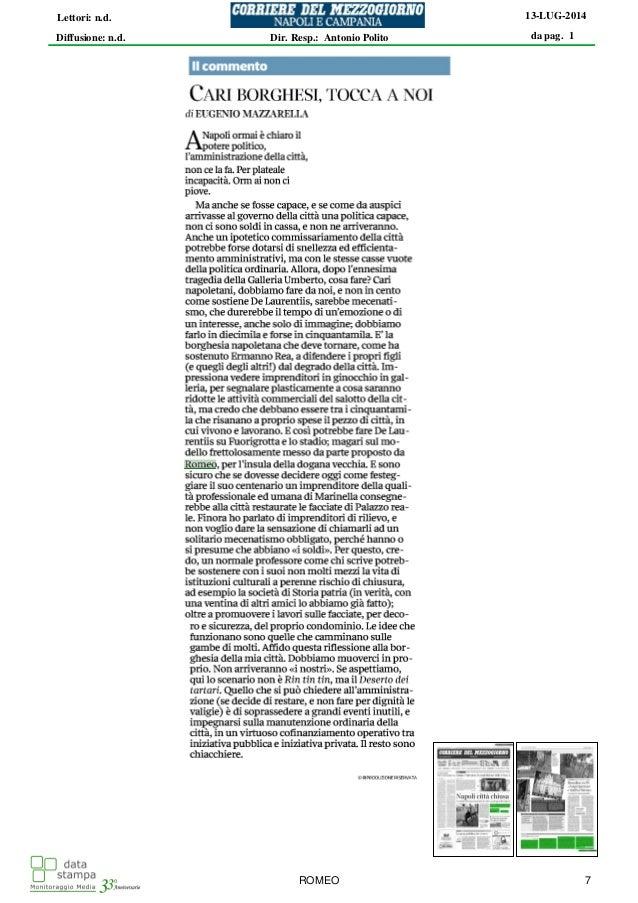 Napoli - Mazzarella consiglia partnership pubblico e privato