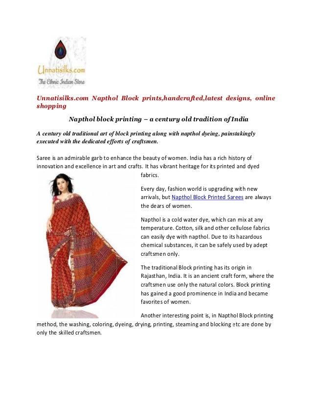 Unnatisilks.com Napthol block printed sarees,Online shopping