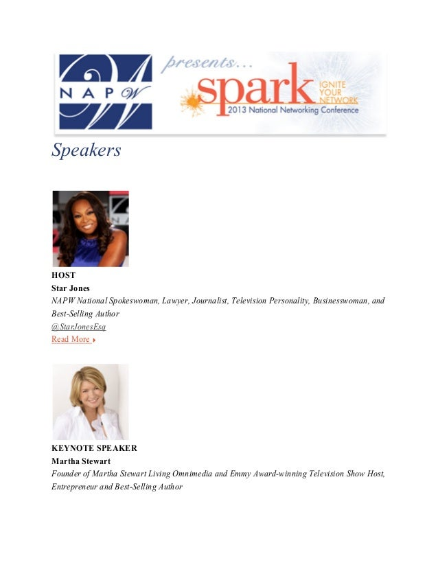 Napw Spark National Networking Conference 2013: Speakers