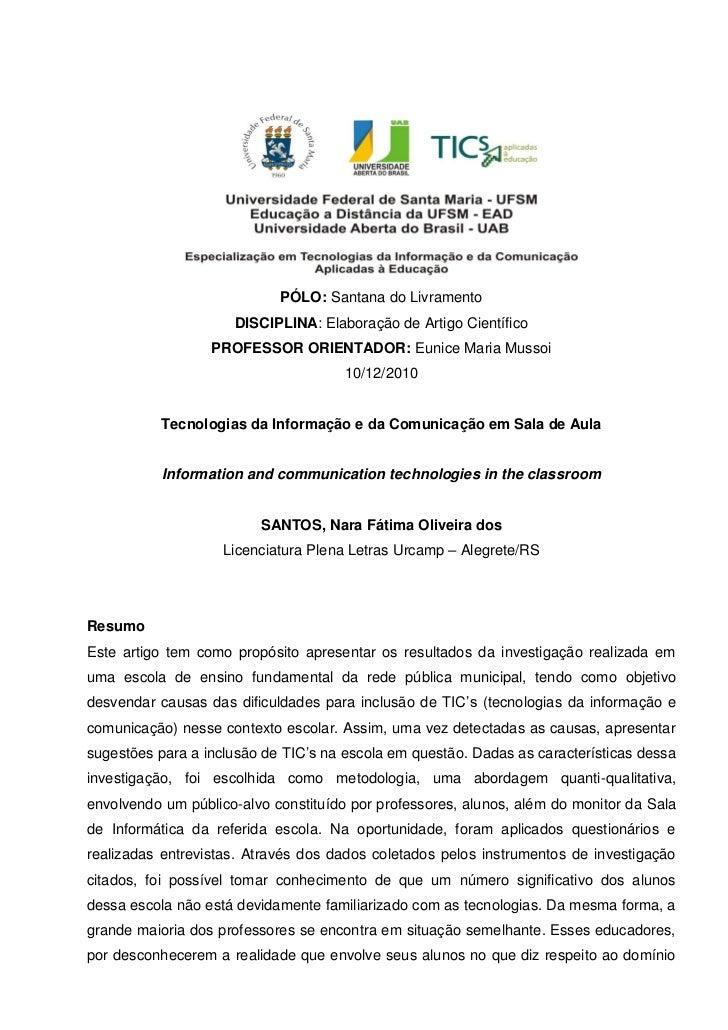 PÓLO: Santana do Livramento                     DISCIPLINA: Elaboração de Artigo Científico                  PROFESSOR ORI...