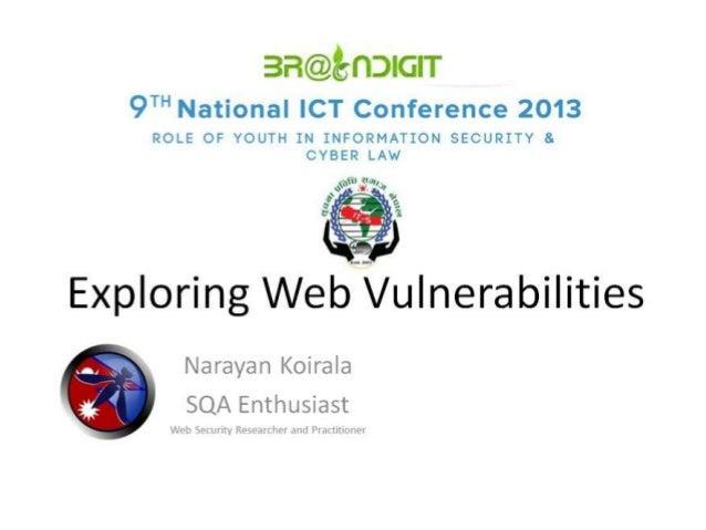 Narain   exploring web vulnerabilities
