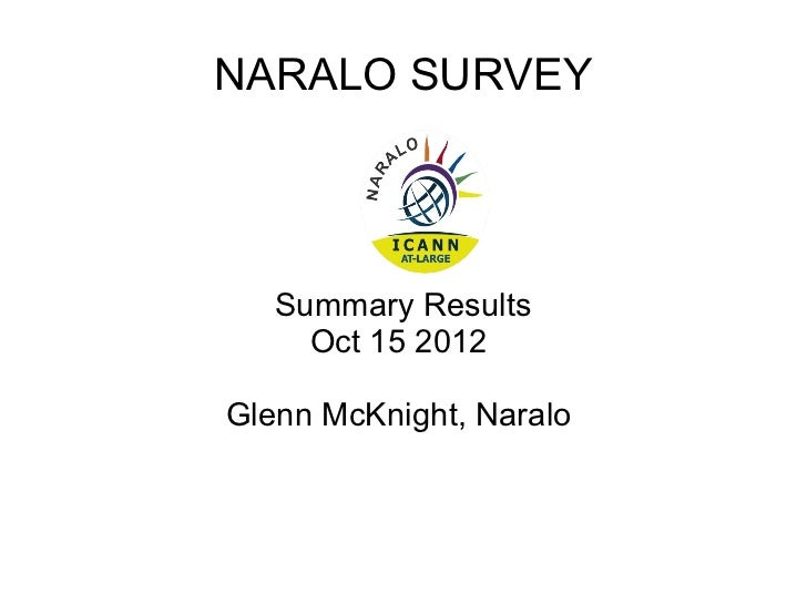 NARALO SURVEY   Summary Results     Oct 15 2012Glenn McKnight, Naralo