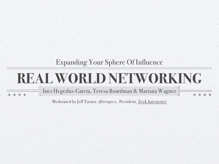 Expanding Your Sphere Of Influence  REAL WORLD NETWORKING   Ines Hegedus-Garcia, Teresa Boardman & Mariana Wagner      Mod...