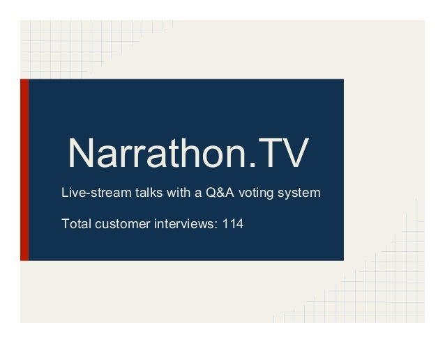 Narrathon.TVLive-stream talks with a Q&A voting systemTotal customer interviews: 114