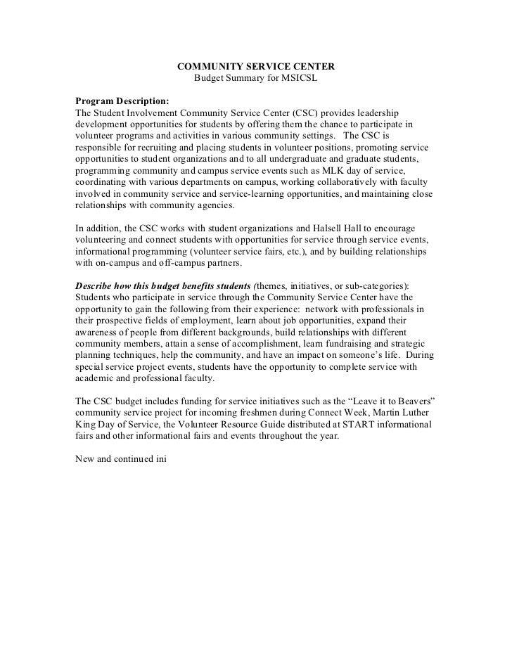 COMMUNITY SERVICE CENTER                           Budget Summary for MSICSLProgram Description:The Student Involvement Co...