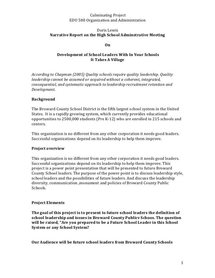 Narrative Report on the High School Adminstrative Meeting<br />On<br /> Development of School Leaders With In Your Schools...