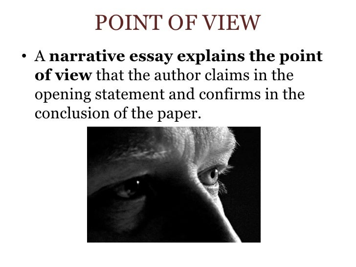 narrative essay with a point A narrative essay is a story usually it's a personal anecdote or experiential piece, and it follows the same pattern as all fiction its three elements or parts are exposition, or background information, followed by complication, the events of the narrative, and resolution, the story's end.