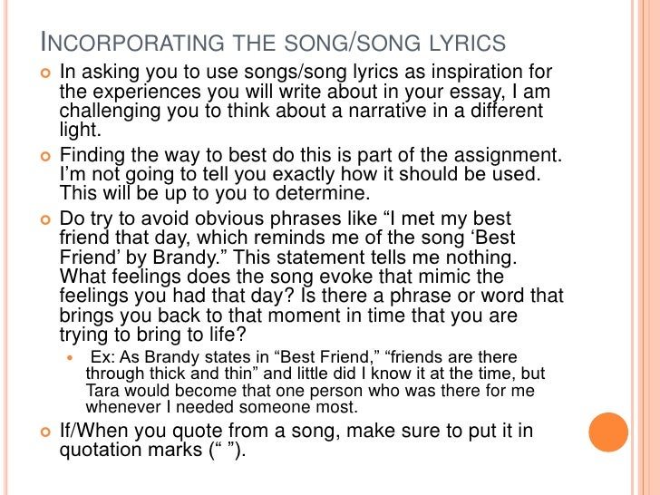 music lyrics analysis essay The process of writing a song analysis essay consists of three distinct stages: song analysis, outlining and draft writing song analysis essays focus on analyzing.