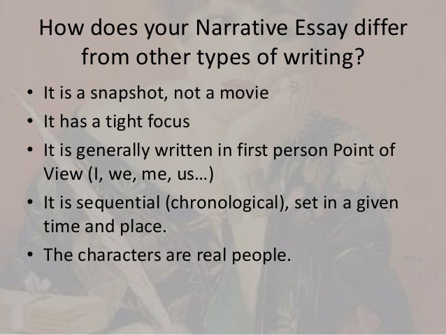 how does expository essay differ from narrative essay Here is a list of best ideas for narrative essays organized in subtopics for your convenience narrative essay topics: in the narrative essay, you can write in the first person and use different stylistic devices 8.