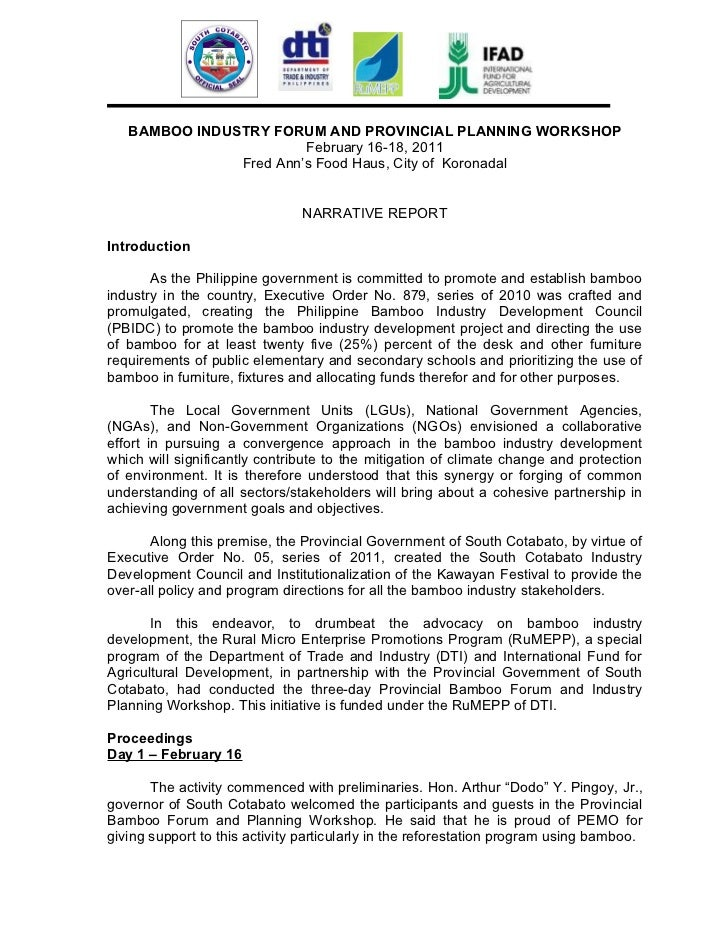 BAMBOO INDUSTRY FORUM AND PROVINCIAL PLANNING WORKSHOP                        February 16-18, 2011               Fred Ann'...