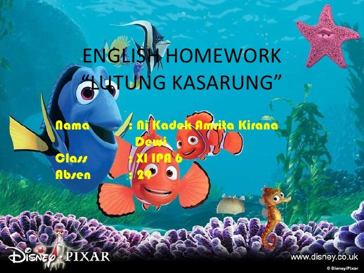 "ENGLISH HOMEWORK""LUTUNG KASARUNG""<br />Nama: Ni Kadek Amrita Kirana<br />Dewi<br />Class: XI IPA 6<br />Absen: 29<br />"
