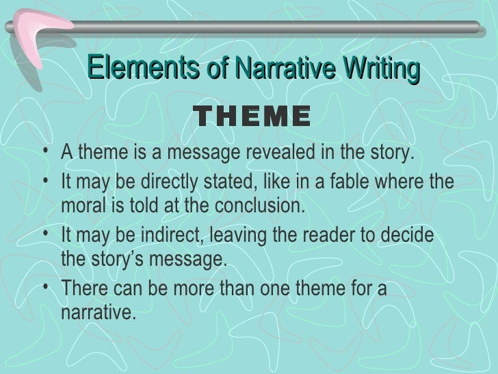 elements of narrative writing What is a narrative essay when writing a narrative essay, one might think of it as telling a story these essays are often anecdotal, experiential, and personal.