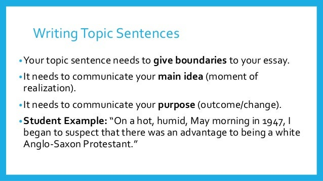 how to write a great topic sentence with examples