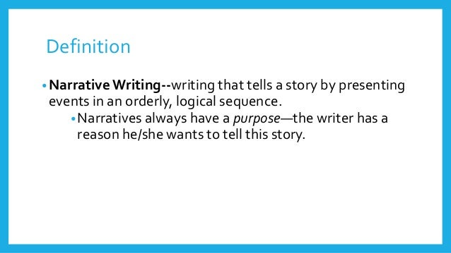 "define narrative writing What is ""narrative nonfiction"", exactly isn't every magazine and book editors call ""narrative nonfiction"": writing that tells a followed by a."