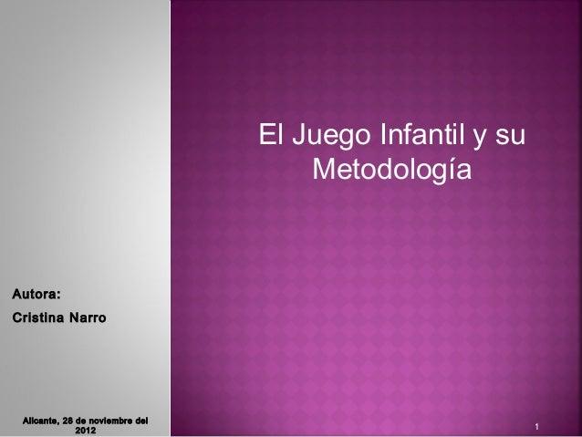 El Juego Infantil y su                                     MetodologíaAutora:Cristina Narro Alicante, 28 de noviembre del ...