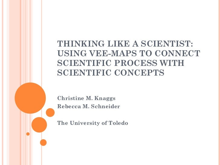 THINKING LIKE A SCIENTIST: USING VEE-MAPS TO CONNECT SCIENTIFIC PROCESS WITH SCIENTIFIC CONCEPTS Christine M. Knaggs Rebec...