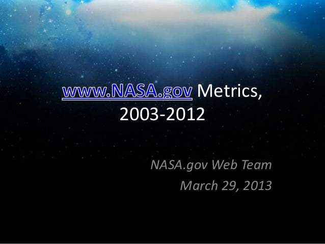 Metrics,2003-2012   NASA.gov Web Team       March 29, 2013