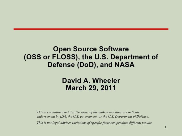 2011 NASA Open Source Summit - David Wheeler