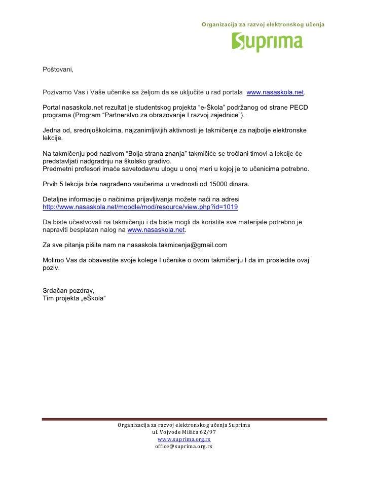 Organizacija za razvoj elektronskog učenjaPoštovani,Pozivamo Vas i Vaše učenike sa željom da se uključite u rad portala ww...