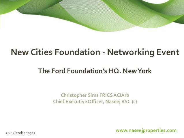 New Cities Foundation - Networking Event                    The Ford Foundation's HQ. New York                           C...