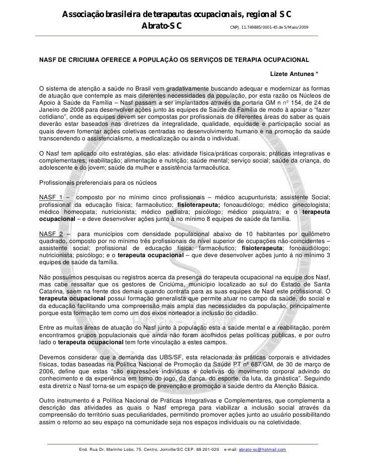 Associação brasileira de terapeutas ocupacionais, regional SC                              Abrato-SC              CNPJ. 11...