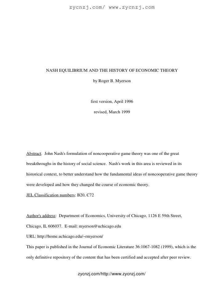 Nash equilibrium and the history of economic theory by roger b ...