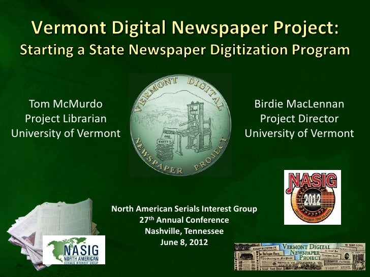 Vermont digital newspaper project: From reel to real