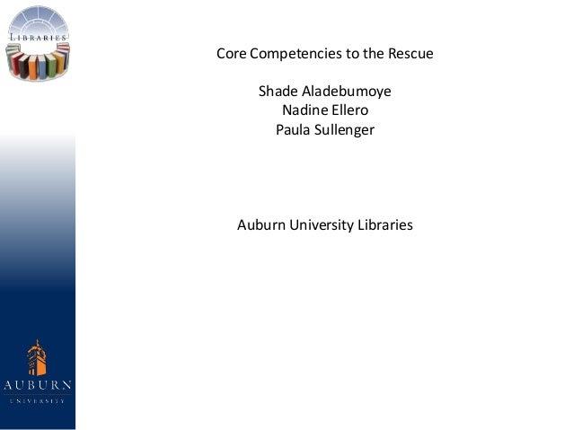 Core Competencies to the Rescue Shade Aladebumoye Nadine Ellero Paula Sullenger Auburn University Libraries