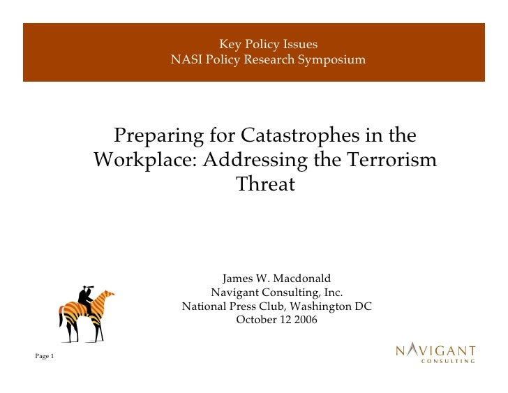 Key Policy Issues                 NASI Policy Research Symposium               Preparing for Catastrophes in the          ...