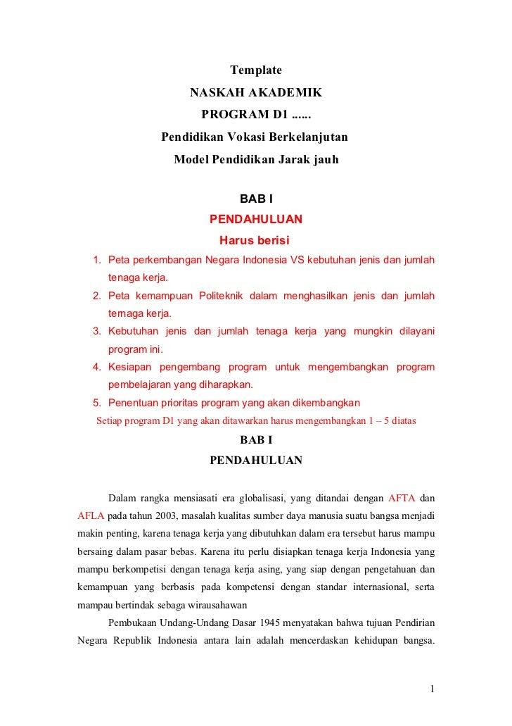 Template                          NASKAH AKADEMIK                            PROGRAM D1 ......                   Pendidika...
