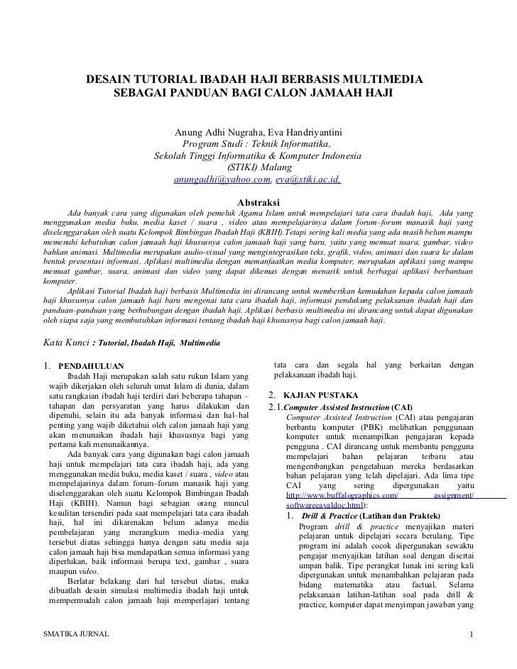 DESAIN TUTORIAL IBADAH HAJI BERBASIS MULTIMEDIA               SEBAGAI PANDUAN BAGI CALON JAMAAH HAJI                      ...
