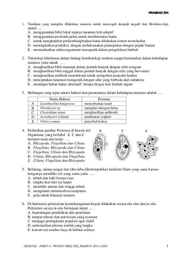 TRYOUT 4 BIOLOGI TIPE A 2014