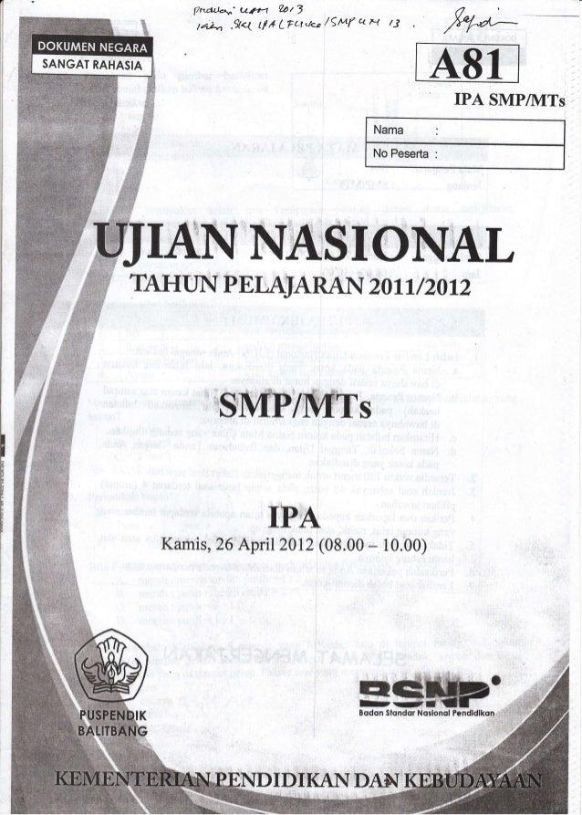 Naskah Soal Ujian Nasional Un Ipa Smp Tahun 2012