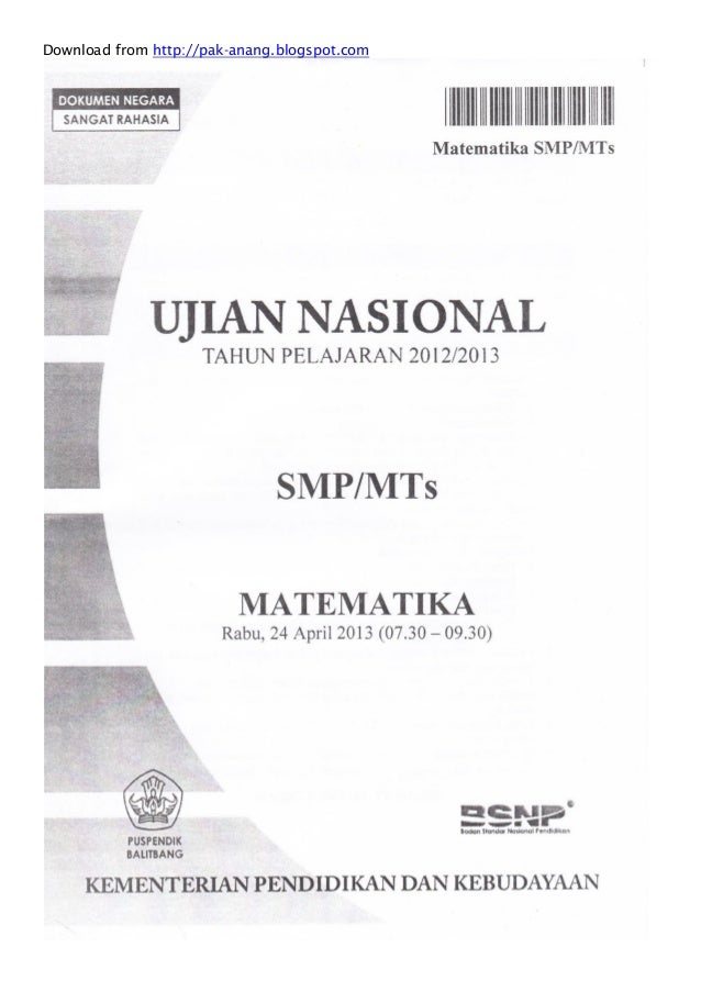 Naskah soal un matematika smp 2013 paket 1