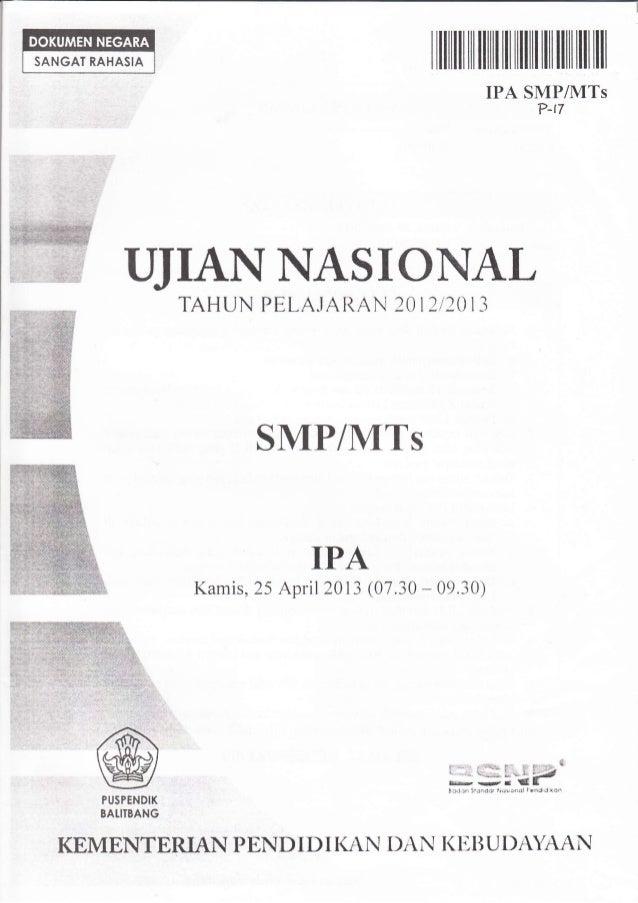 NASKAH SOAL UJIAN NASIONAL IPA SMP TAHUN 2013 PAKET-17