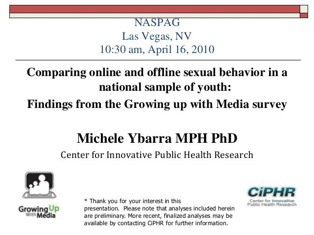 NASPAGLas Vegas, NV10:30 am, April 16, 2010Comparing online and offline sexual behavior in anational sample of youth:Findi...