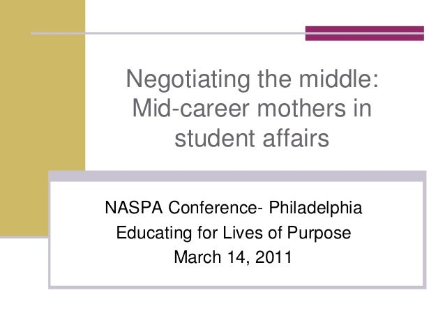 Negotiating the middle:Mid-career mothers instudent affairsNASPA Conference- PhiladelphiaEducating for Lives of PurposeMar...