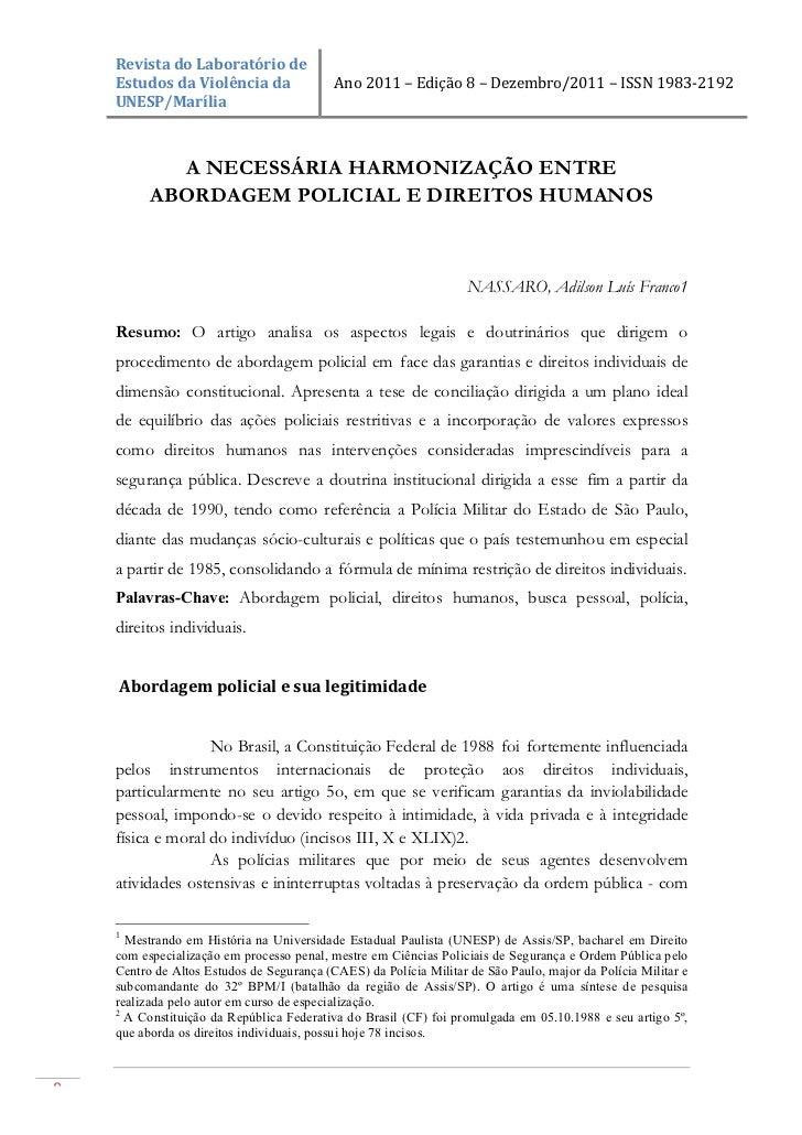 Revista do Laboratório de     Estudos da Violência da        Ano 2011 – Edição 8 – Dezembro/20...