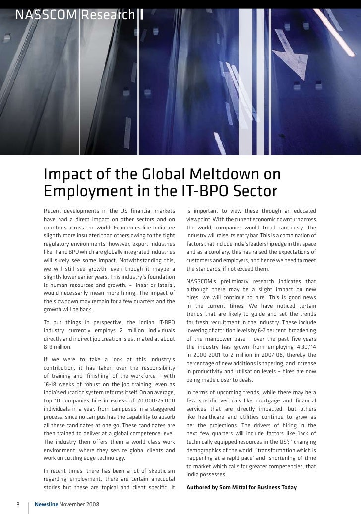 nAssCOM Research           impact of the Global Meltdown on       employment in the iT-BPO sector        Recent developmen...