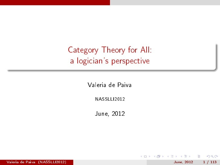 Category Theory for All (NASSLLI 2012)