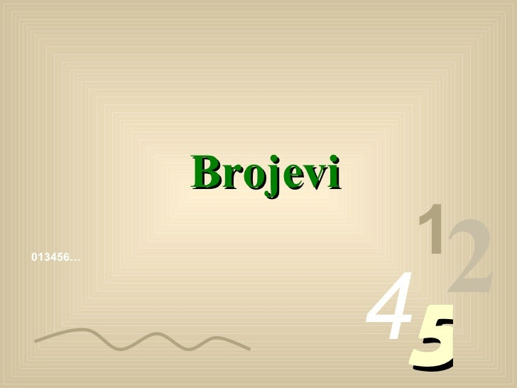 013456… 1 2 4 5 Brojevi