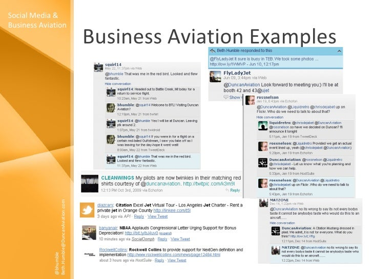 Business Aviation Examples Social Media & Business Aviation @bhumble Beth.Humble@DuncanAviation.com
