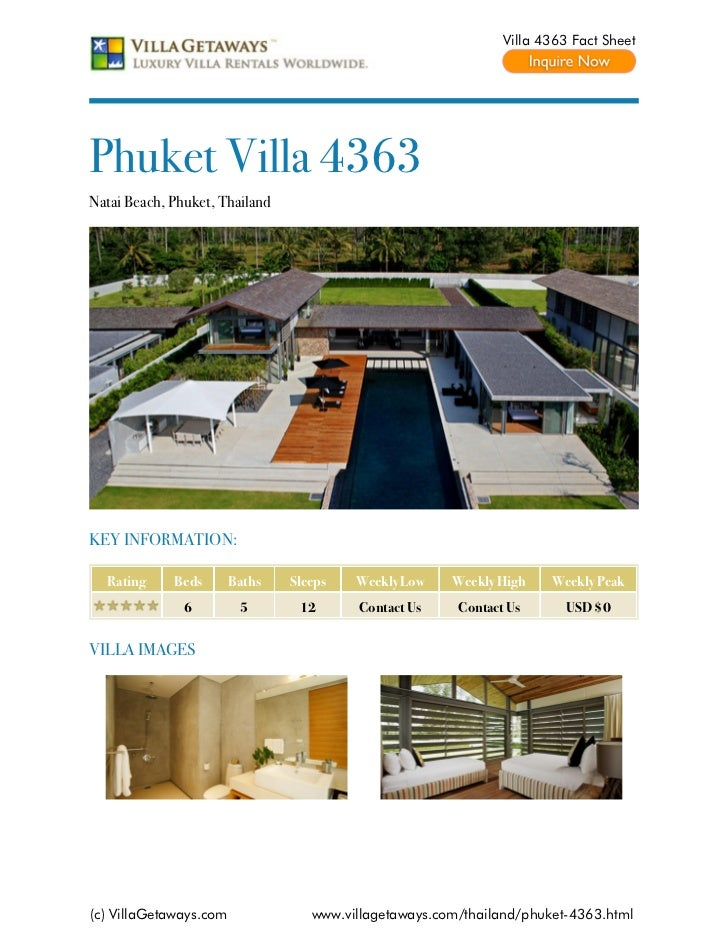 Villa 4363 Fact SheetPhuket Villa 4363Natai Beach, Phuket, ThailandKEY INFORMATION:  Rating     Beds       Baths   Sleeps ...