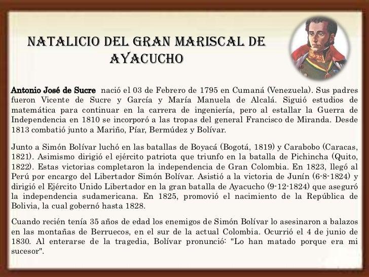NATALICIO DEL GRAN MARISCAL DE               AYACUCHOAntonio José de Sucre nació el 03 de Febrero de 1795 en Cumaná (Venez...