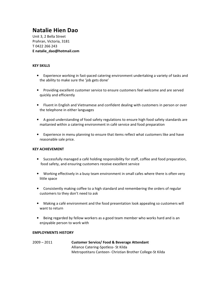 Food And Beverage Attendant Sample Resume] 7 Food And Beverage ...